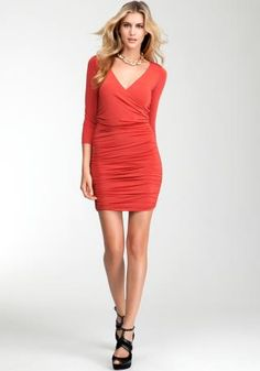 Wrap Front Twist Back Red Dress