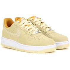 Nike Nike Air Force 1 '07 Seasonal Suede Sneakers (€62) ❤ liked on Polyvore featuring shoes, sneakers, nike, yellow, nike footwear, nike shoes, yellow suede shoes, yellow sneakers and suede sneakers