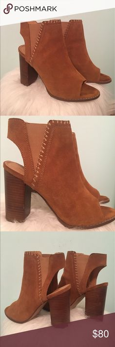 Urban Outfitters Open Toe Booties Size 9 Urban Outfitters 4 1/2 inch block heel booties with an open toe,  women's size 9, worn one time, check photos for wear & tear! Urban Outfitters Shoes Ankle Boots & Booties
