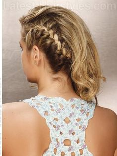 Hairstyle with Curls and Side Braid Back View