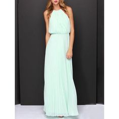 Choies Mint Green Pink Cut Away Pleated Chiffon Maxi Dress (37 NZD) ❤ liked on Polyvore