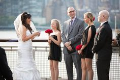 Over the years, we've seen lots of really lovely ways to include children in blended family weddings, but we've never featured the vows that were spoken. I've enlisted the help of a few of our favorite officiants, asking them to share wording for blended family vows that they've written. (Plus, we've got one batch of bonus vows from an Offbeat Bride Tribe member!)