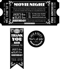 CUSTOMIZED Movie Ticket INVITATION PRINTABLE