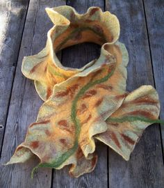 https://flic.kr/p/3kKf5i | Felted Scarf | A felted scarf I made with Jenne of Harlequin Feltworks.  It is wet felted, using the Nuno method of sandwiching silk gauze between felted wool.