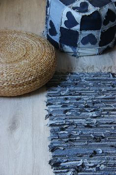 "Denim Woven Rug , Nautical Denim Rug , Woven Loom Rug , Handmade Floor Rugs , Kids room decor , Lake House cottage , Nursery rug , 38""x22"" by SecondBirthday on Etsy"