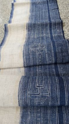 Handwoven hemp Vintage fabric Indigo Hmong HempTable by dellshop