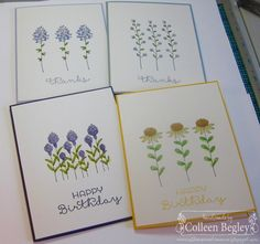 A clean and simple note card set using the new Flowering Fields set from the 2016 Sale-A-Bration catalog. Details on my blog post http://colleenscreativecorner.blogspot.com/2016/01/note-card-set.html.  TFL, Colleen