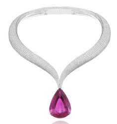 Chopard Red Carpet Collection rubellite and diamond necklace featuring an exceptional 123.24ct pear-shaped rubellite.