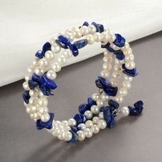White Freshwater Pearl Nugget Lapis Lazuli Bracelet Memory Wire Adjustable - Before After DIY Gold Pearl Ring, Baroque Pearl Necklace, Pearl Jewelry, Pearl Necklaces, Gemstone Jewelry, Jewelery, Freshwater Pearl Bracelet, White Freshwater Pearl, Pearl White