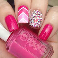 easy and pretty nail art designs 2016 - Real Hair Cut Great Nails, Fabulous Nails, Gorgeous Nails, Love Nails, Pink Nails, My Nails, Chevron Nails, Perfect Nails, Nail Art Designs 2016