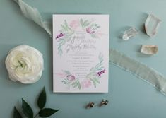Soft floral watercolor wedding invitation Watercolor Wedding, Floral Watercolor, Summer Flowers, Wedding Invitations, Place Card Holders, Frame, Masquerade Wedding Invitations, Wedding Invitation Cards, A Frame