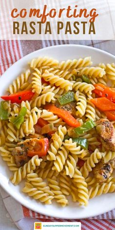 Make the BEST chicken rasta pasta - right at home! You are going to love this easy rasta pasta recipe with jerk chicken. It's colorful and simple to make, and it's packed with flavor! Everything about this rasta pasta recipe is easy to make - including the famous jerk chicken pasta seasoning! #SundaySupper #jerkchicken #rastapasta #jerkseasoning #easyrecipes #dinners #pastas #pastarecipes Pasta Recipes For Two, Rice Recipes, Chicken Recipes, Recipies, Sunday Dinner Recipes, Supper Recipes, How To Cook Pasta, How To Cook Chicken, Jerk Chicken Pasta