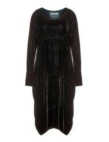 Privatsachen Samtkleid mit Seide in Schwarz