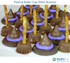 This is a guide about making Halloween witch hat and broom treats. Halloween is the perfect holiday for making fun treats for the family or parties. Dulces Halloween, Halloween Goodies, Halloween Food For Party, Halloween Birthday, Holidays Halloween, Halloween Candy, Halloween Witches, Halloween Desserts, Easy Halloween Treats