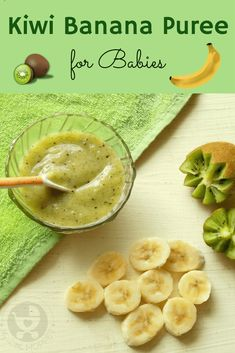 Kiwi Banana Puree for Babies Introduce your baby to different flavors with a delicious Kiwi Banana Puree! Packed with antioxidants, fiber and other nutrients along with a lovely green color! Baby Puree Recipes, Pureed Food Recipes, Baby Food Recipes, Baby Food Puree, Banana Baby Food, Kiwi And Banana, Toddler Meals, Kids Meals, Toddler Food