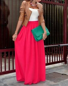 summer.  maxi skirt, jacket and tank.