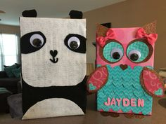 Panda And Owl Valentine Box
