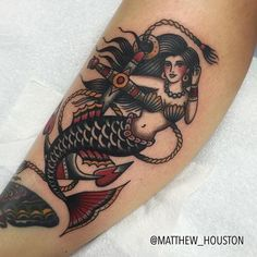 Ideas Tattoo Old School Mermaid Anchors Wolf Tattoos, Feather Tattoos, Finger Tattoos, Forearm Tattoos, Body Art Tattoos, Sleeve Tattoos, Tattoo Thigh, Tattoo Ink, Trendy Tattoos