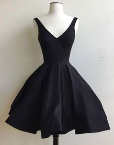 Cute A-Line V-Neck Black Short Homecoming/Prom Dress,Evening Dress,Party Dress,53019