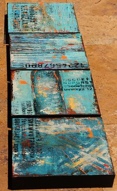 For sale on etsy Interesting colours and texture but why just ABCD - could the artist have found something to say with the letters?
