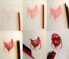 Drawing hair in steps by NourShalabi on DeviantArt