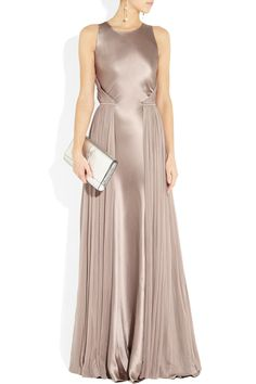 Amanda wakeley Silksatin and Mesh Gown in Purple (mauve) | Lyst