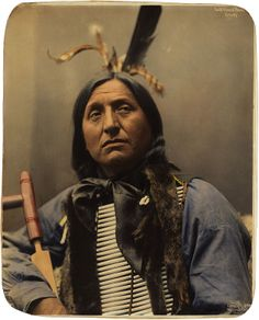 Left Hand Bear, Oglala Sioux chief. - Fourth and last in a series of four hand-colored platinum prints gifted to the Library of Congress by David A. Rector. - Original photo by Heyn Photo, Omaha, Nebraska, 1899.