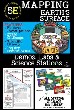 Mapping Earth's Surface Demo, Lab & Science Stations will showcase each student's ability to:  • Identify main types of landforms • Explain the topography of an area • Explain how maps and globes represent Earth's surface • Identify latitude and longitude as reference lines • Explain how elevation, relief and slope are shown on topographic maps through the use of contour lines.
