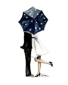 This sweet couple behind a polka-dot umbrella is the perfect print for your gallery wall! Art print created with museum quality fade resistant