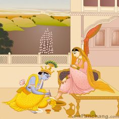 Krishna decorating feet of Radha - miniature image showing Krishna decorating feet of Radharani with Mahawar