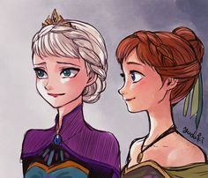 I love coronation style Elsa and Anna! Elsa and Anna Disney Girls, Disney Love, Disney Magic, Disney Frozen, Disney Art, Disney And Dreamworks, Disney Pixar, Disney Characters, Disney Princesses