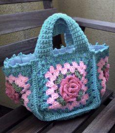 Blue Crochet Tote bag with Pink Flora Design. $32.00, via Etsy.