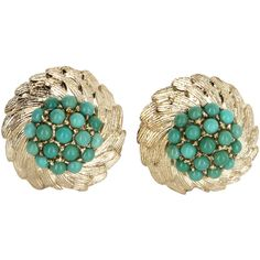 Pre-Owned Turquoise Cluster Clip Earrings Vintage Wreath 14k Yellow... (23 260 UAH) ❤ liked on Polyvore featuring jewelry, earrings, yellow gold, 14k earrings, turquoise clip on earrings, vintage earrings, gold earrings and gold cluster earrings