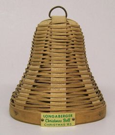 Longaberger 1983 Christmas Bell Basket with Green Metal Tag