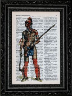 Huron Warrior Dictionary Art Vintage Book Print Recycled Vintage Upage Antique Illustration Repurposed Dictionary Page Buy 2 Get 1 FREE. $7.99, via Etsy.
