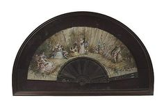 <b>FRENCH PAINTED SILK AND OF MOTHER OF PEARL FAN</b> <br  /> LATE 19TH CENTURY <br  /> painted with romantic scenes after Watteau, signed Alexandra, within a modern mahogany case <br  /> fan, 55cm wide, case, 70cm wide, 41cm high