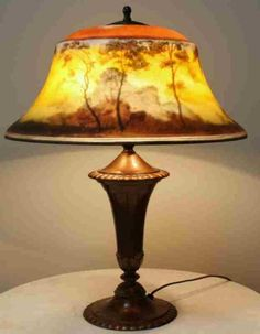 Outstanding Signed Reverse Painted Landscape Pairpoint Table Lamp   eBay