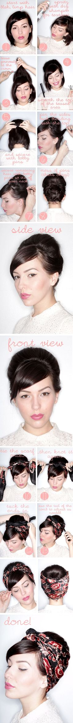 Faux Updo Tutorial For Short Hair I need to buy some cute scarfs to do this