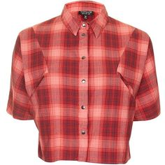 Topshop Check Cropped Shirt ($30) ❤ liked on Polyvore featuring tops, checkered shirt, shirt top, red crop top, checkered crop top and cotton shirts
