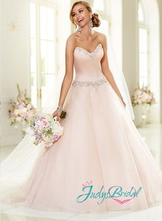 JW15034-simple-sweetheart-neckline-blush-pink-simple-tulle-princess-ball-gown-wedding-dress.jpg (587×800)