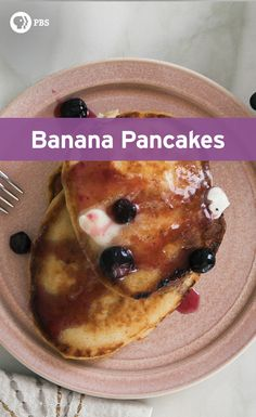These banana pancakes get an extra kick from the blueberry sauce. It is deliciously tart and sweet, no need for maple syrup!