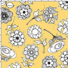 Paper Posies Yellow - Per Yd - Loralie Harris #supplies @EtsyMktgTool http://etsy.me/2rJkXoF #cream #loralieharris #loraliedesigns #sale