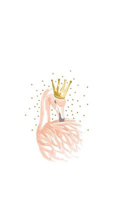 Pink Swan Drawing - Wallpaper for iPhone and Android