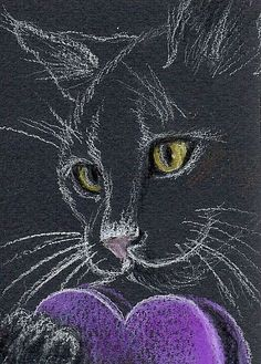 Special Guest Post: Black Cat Valentine's Day – Adopt! black cat rescue valentine's day article – blackcatrescue. Cat Valentine, Valentines Day Drawing, Pencil Art Drawings, Cat Drawing, Animal Drawings, Art Sketches, Toxic Plants For Cats, Black Paper Drawing, Cat Sketch