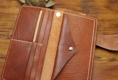 Handmade biker leather wallet with chain brown coffee Long wallet ...-SR