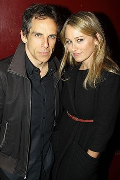 Ben Stiller and his wife Christine Taylor at the opening night party for Neil LaBute's The Break Of Noon.