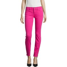 Stylus™ Skinny Jeans ($25) ❤ liked on Polyvore featuring jeans, rolled jeans, ankle zip jeans, rolled up skinny jeans, pink jeans and denim skinny jeans
