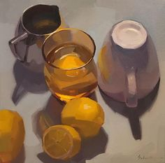 """Lemon Water"" by Sarah Sedwick. 10x10"" oil on canvas. Fine Art painting still life"
