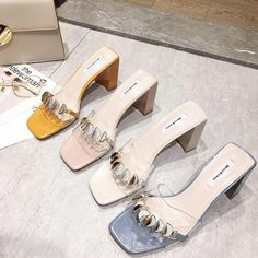Slip-on style Open toe Block heel Wide fit Embellished design Smooth, transparent upperShow off your pedicure Fashion Shoes, Fashion Accessories, Fashion Dresses, Senso Shoes, Seattle Fashion, Minimalist Shoes, Beautiful Shoes, Block Heels, Open Toe