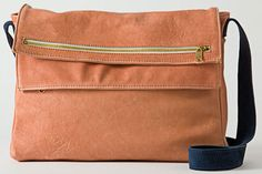 American Apparel Leather Zip Squared Bag